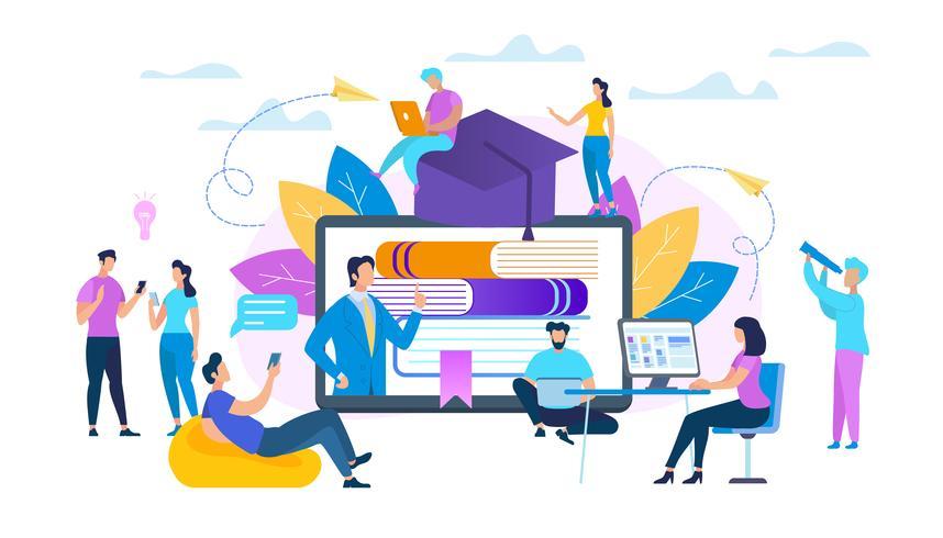 group-of-students-watching-webinar-online-vector